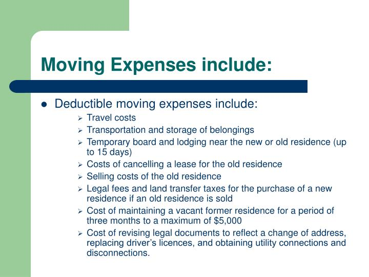 Moving Expenses include: