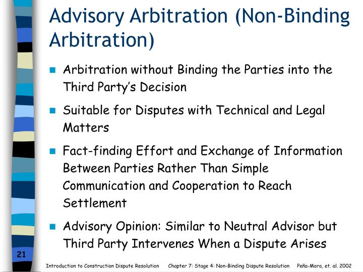 Advisory Arbitration (Non-Binding Arbitration)