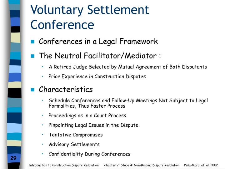 Voluntary Settlement Conference