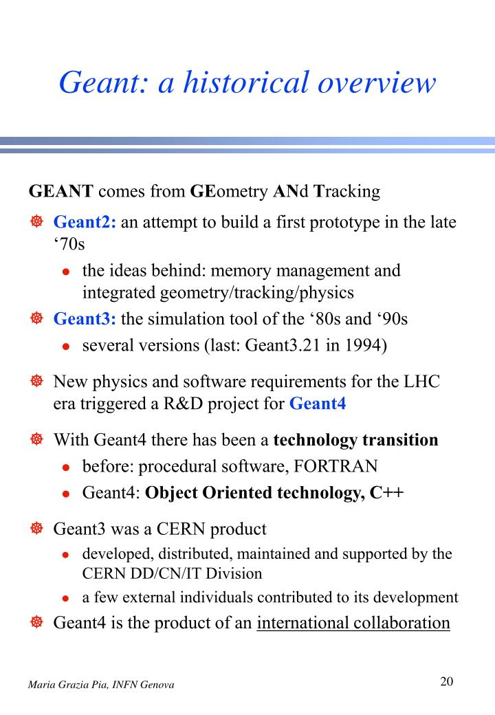 Geant: a historical overview