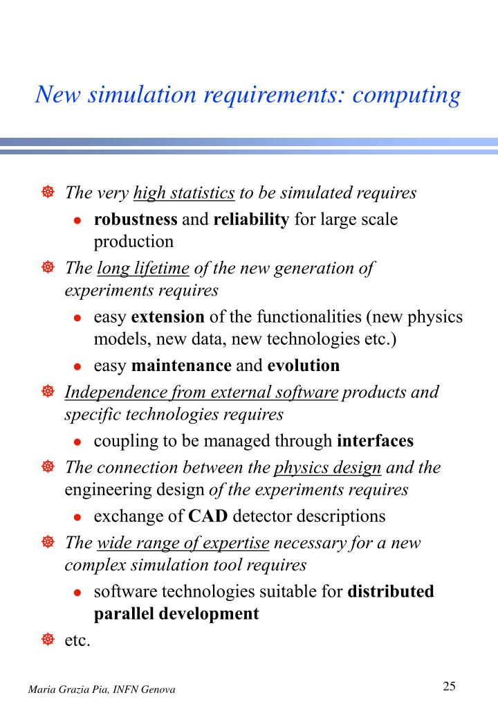 New simulation requirements: computing