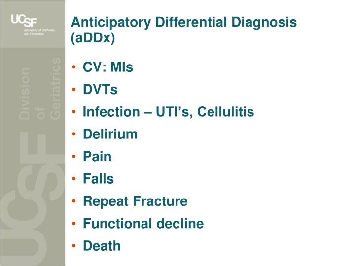 Anticipatory Differential Diagnosis (aDDx)
