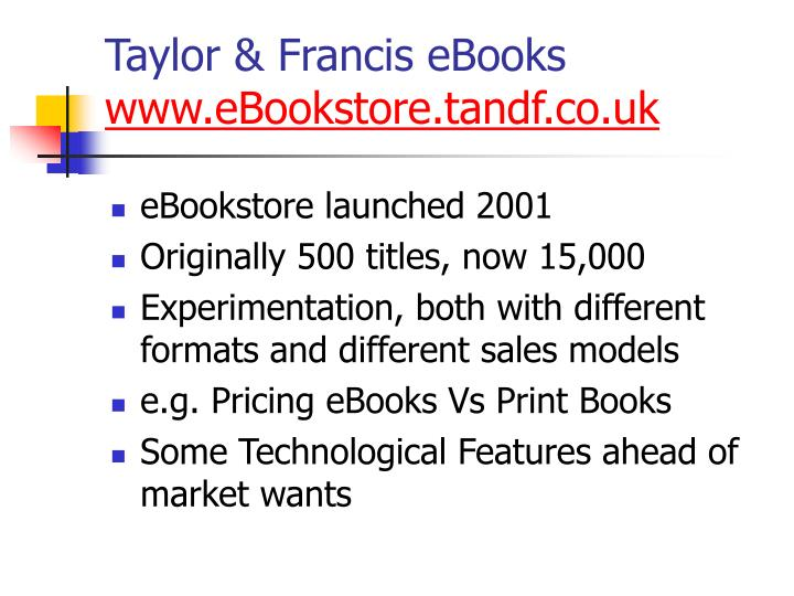 Taylor francis ebooks www ebookstore tandf co uk