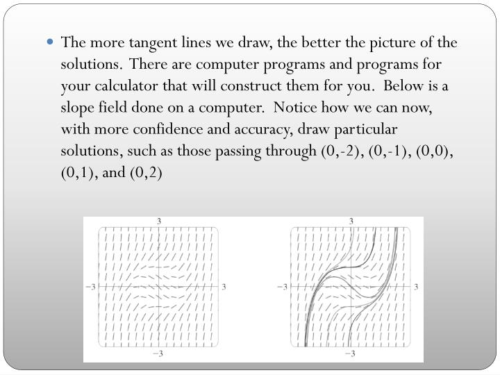 The more tangent lines we draw, the better the picture of the solutions.  There are computer programs and programs for your calculator that will construct them for you.  Below is a slope field done on a computer.  Notice how we can now, with more confidence and accuracy, draw particular solutions, such as those passing through (0,-2), (0,-1), (0,0), (0,1), and (0,2)