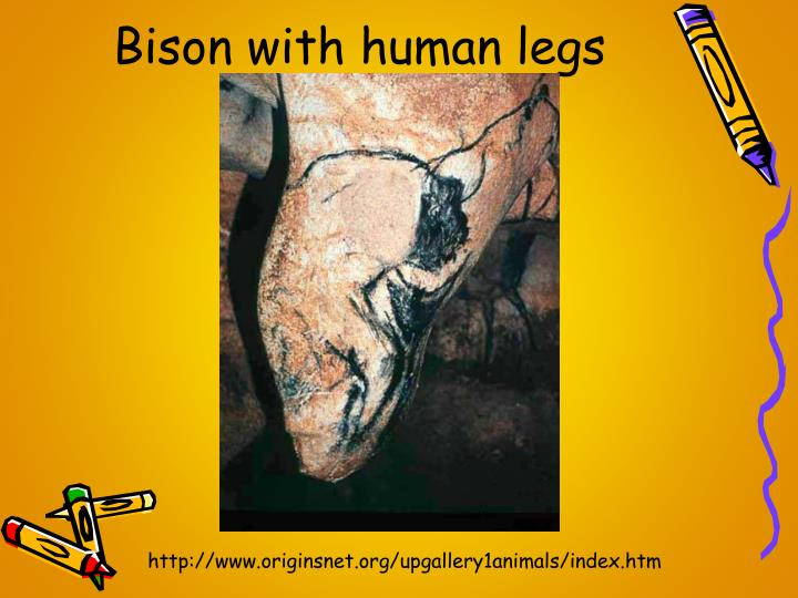 Bison with human legs