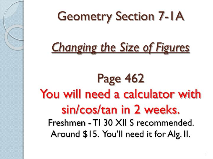 Geometry Section 7-1A
