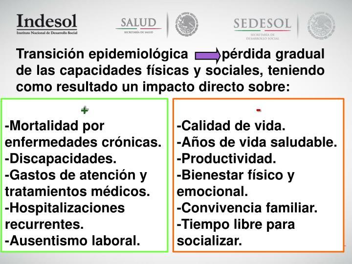 Transición epidemiológica        pérdida gradual de las capacidades físicas y sociales, teniendo como resultado un impacto directo sobre: