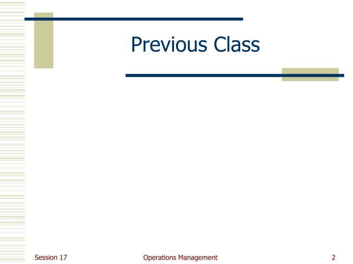 Previous Class