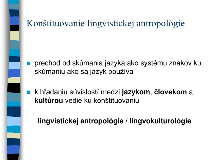 Konštituovanie lingvistickej antropológie
