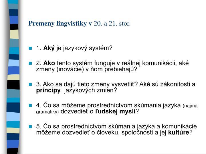 Premeny lingvistiky v