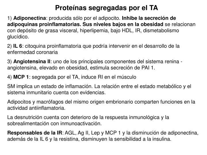 Proteínas segregadas por el TA