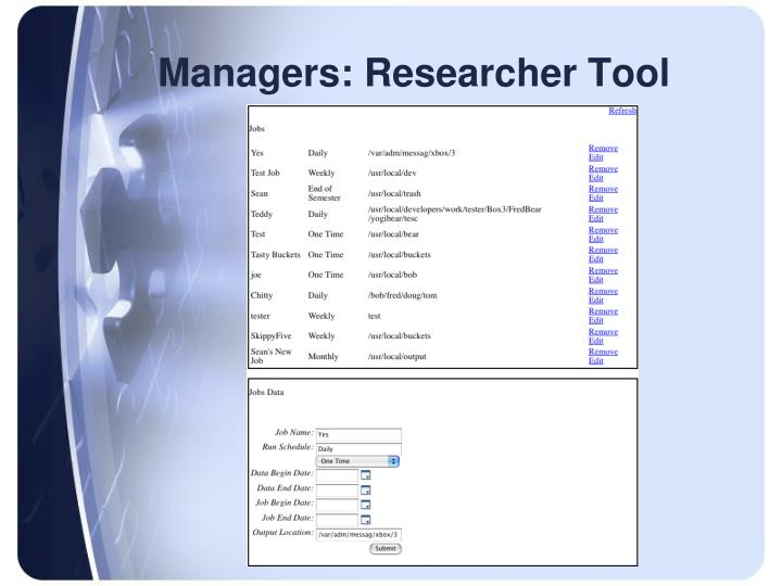 Managers: Researcher Tool