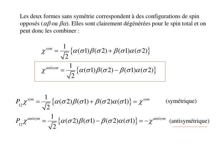 Les deux formes sans symétrie correspondent à des configurations de spin opposés (