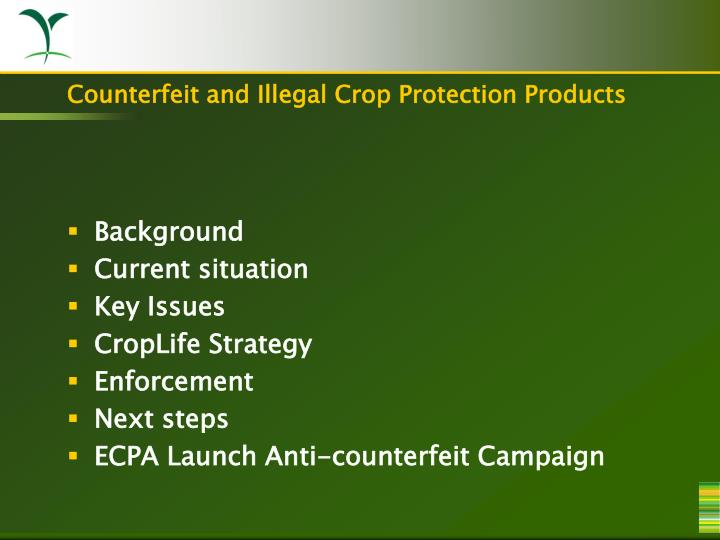 Counterfeit and illegal crop protection products1
