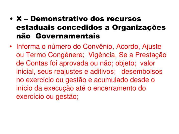 X – Demonstrativo dos recursos estaduais concedidos a Organizações não  Governamentais
