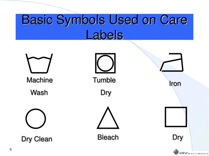 Basic Symbols Used on Care Labels