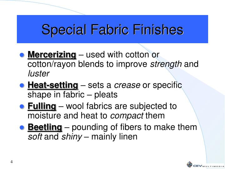 Special Fabric Finishes