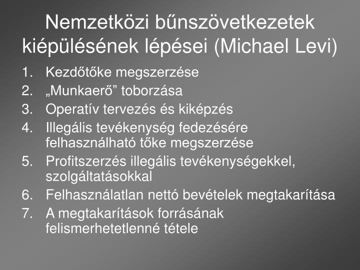 Nemzetközi bűnszövetkezetek kiépülésének lépései (Michael Levi)