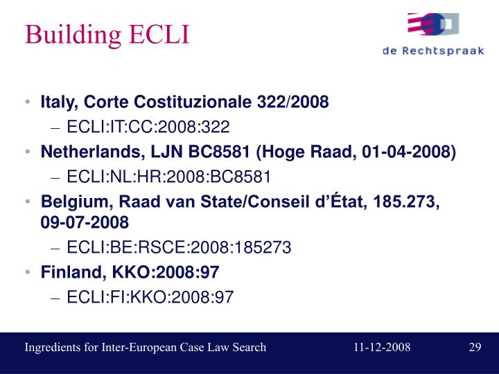 Building ECLI