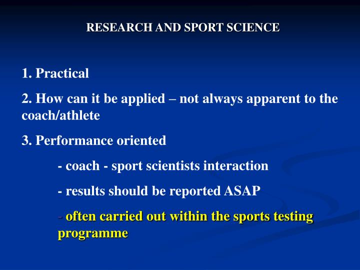 RESEARCH AND SPORT SCIENCE