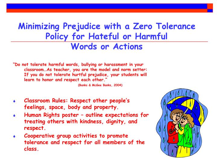 Minimizing Prejudice with a Zero Tolerance Policy for Hateful or Harmful