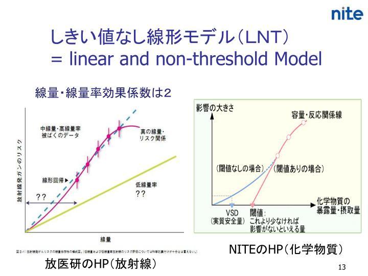 しきい値なし線形モデル(LNT)