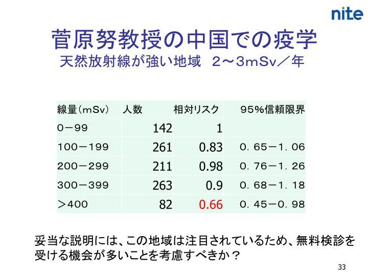 菅原努教授の中国での疫学
