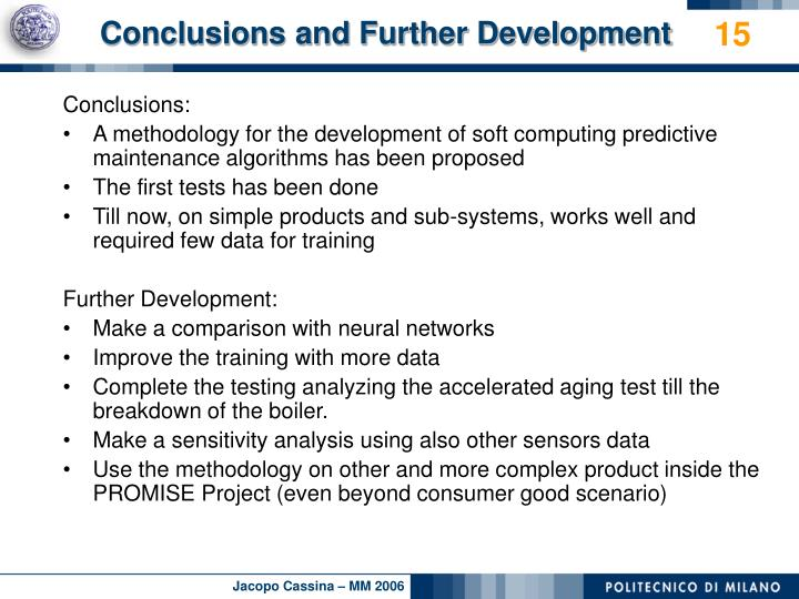 Conclusions and Further Development