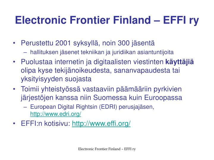 Electronic frontier finland effi ry