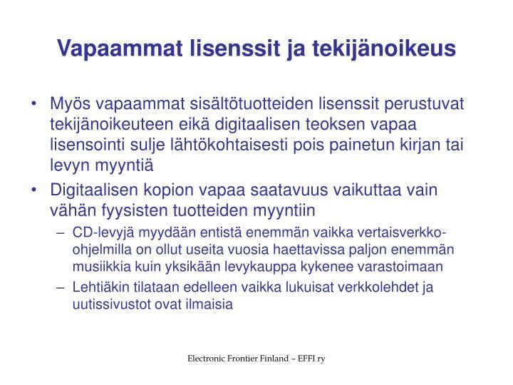 Vapaammat lisenssit ja tekijänoikeus