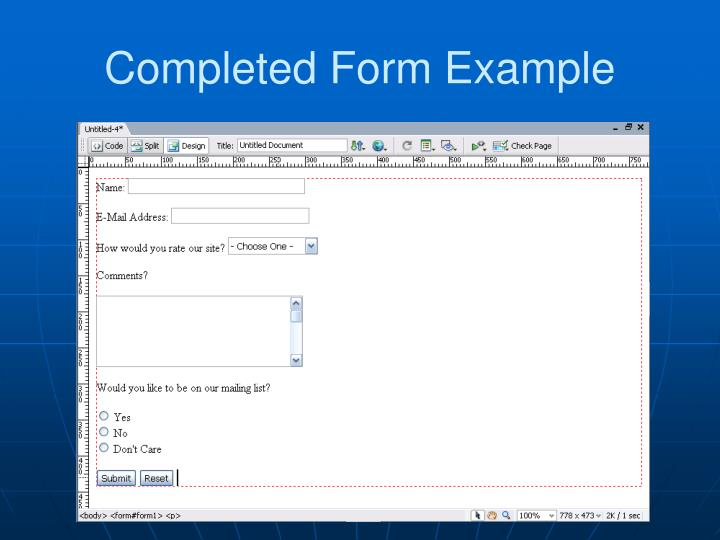 Completed Form Example