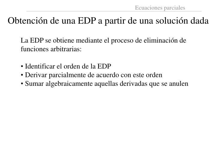 Obtención de una EDP a partir de una solución dada