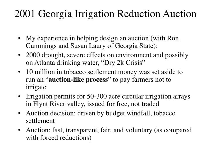 2001 Georgia Irrigation Reduction Auction