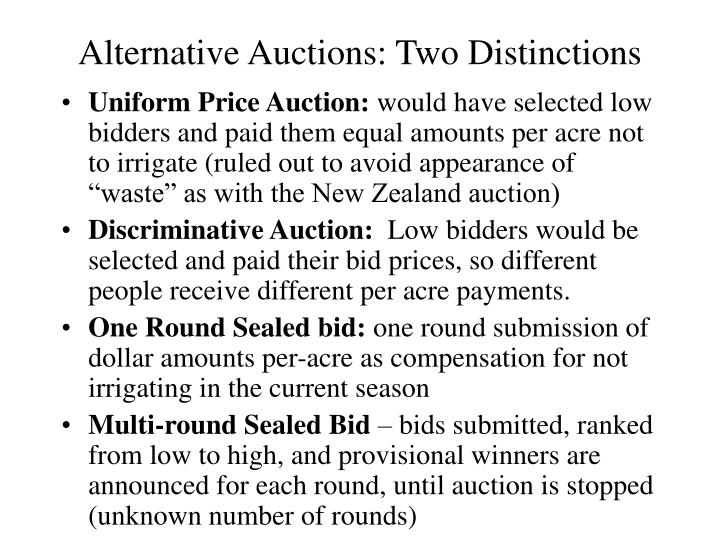Alternative Auctions: Two Distinctions