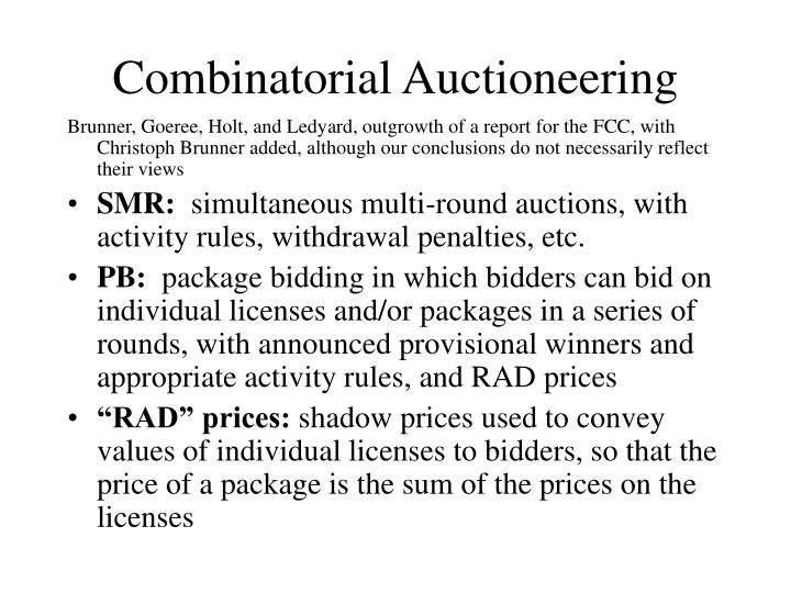 Combinatorial Auctioneering