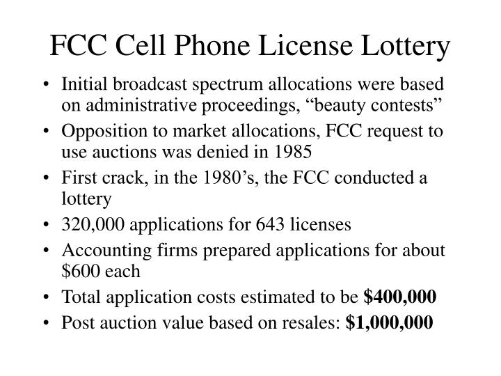 FCC Cell Phone License Lottery