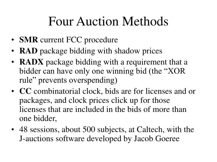 Four Auction Methods