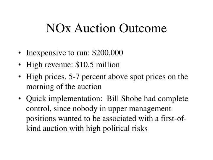 NOx Auction Outcome