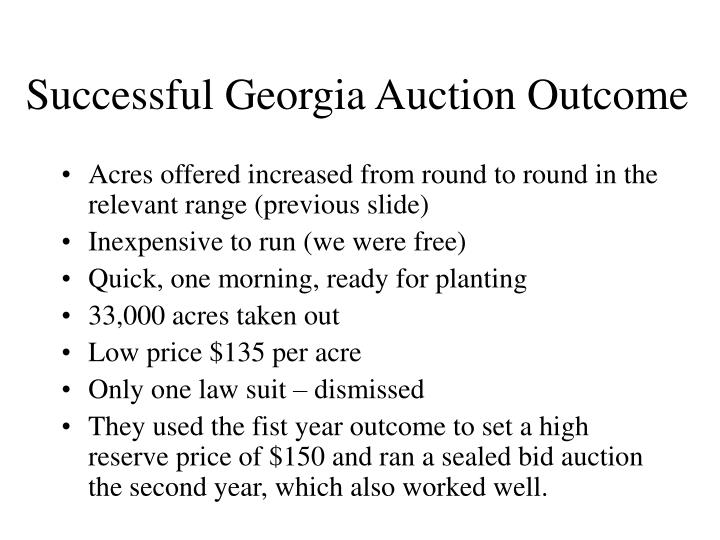 Successful Georgia Auction Outcome