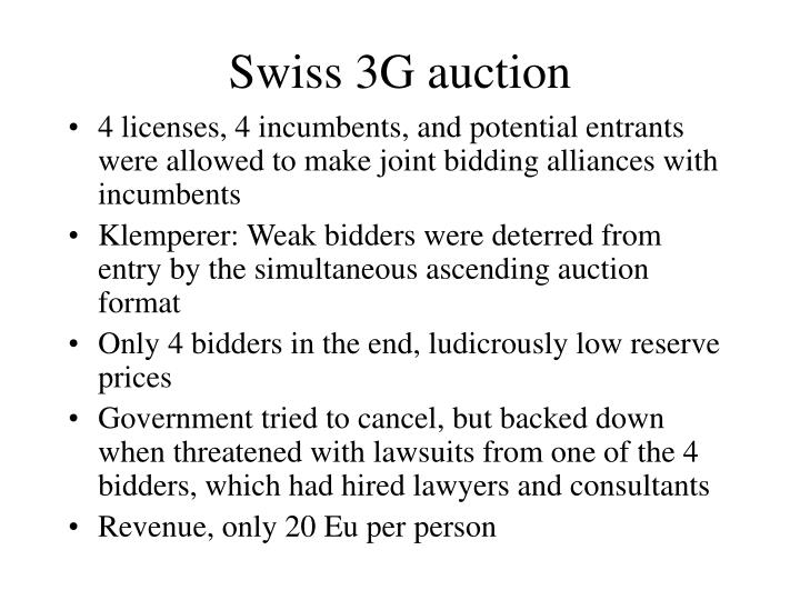 Swiss 3G auction