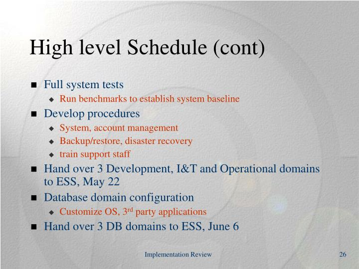 High level Schedule (cont)
