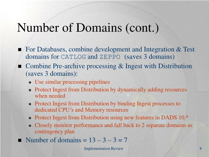 Number of Domains (cont.)