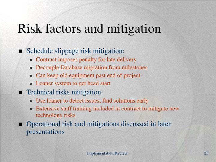 Risk factors and mitigation