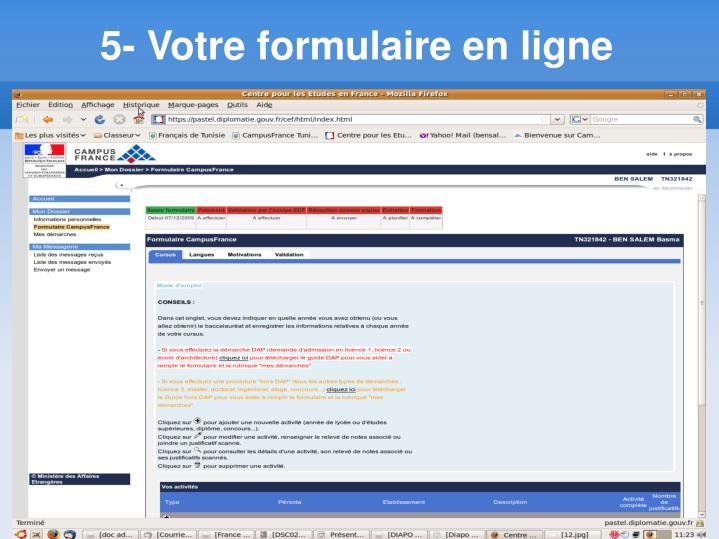 5- Votre formulaire en ligne