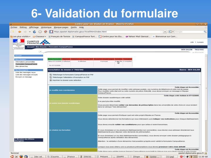 6- Validation du formulaire