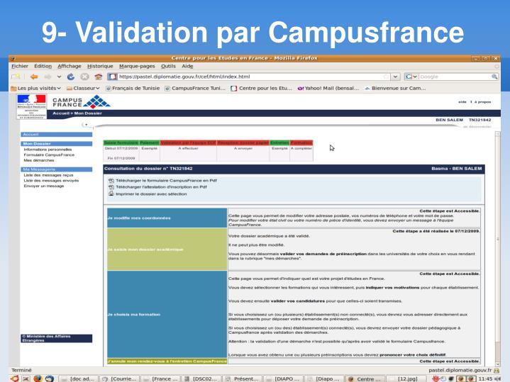 9- Validation par Campusfrance