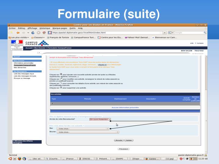 Formulaire (suite)