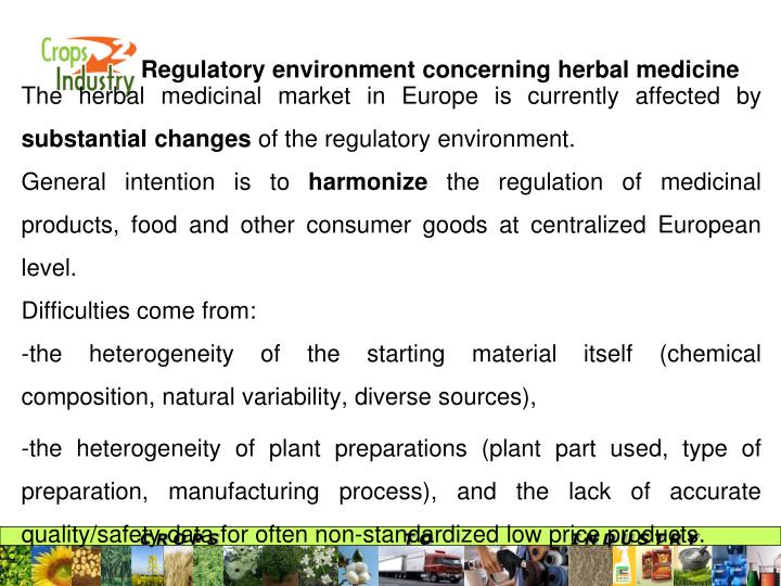 Regulatory environment concerning herbal medicine