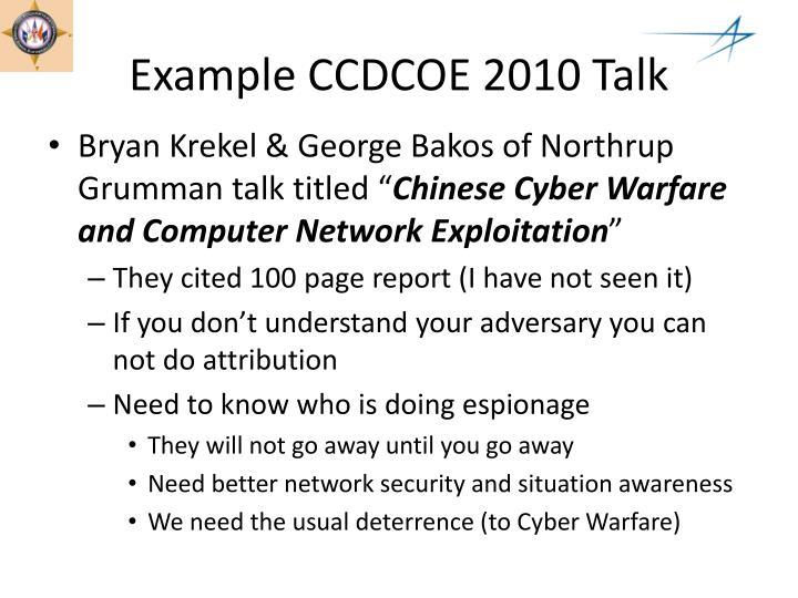 Example CCDCOE 2010 Talk