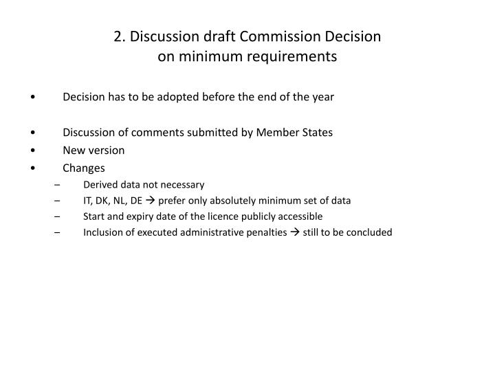 2. Discussion draft Commission Decision